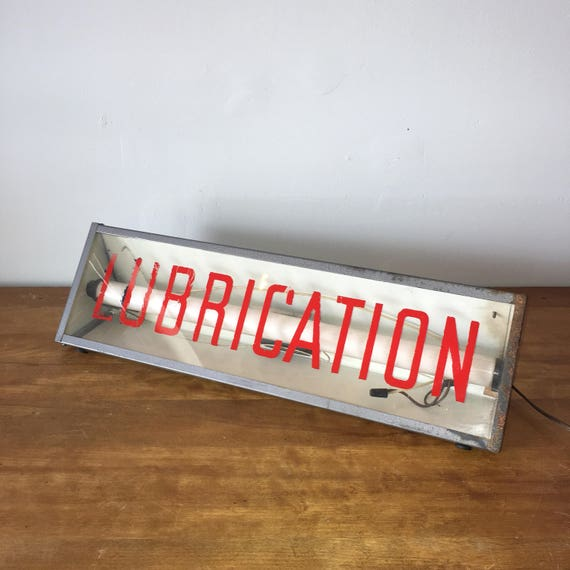 Vintage Gas Station / Auto Store Lighted Sign Lubrication