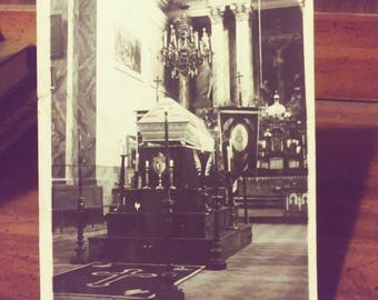 Real Photo Postcard, Casket in Church