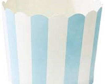 Set of 6 trays in paper - blue with white stripes