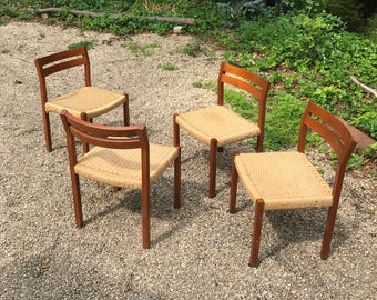 Four Set Niels Otto Moller Teak Dining Chairs Danish Vintage Mid-Century Modern c.1969 Denmark Woven Cord Rope Rush