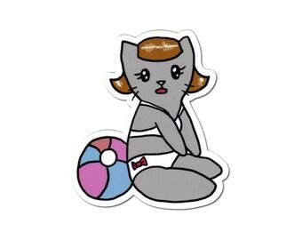Beach Kitty Sticker, Laptop Sticker, Car Sticker, Bumper Sticker, Vinyl Sticker, Pinup Girl, Cute Cat, Skateboard Sticker