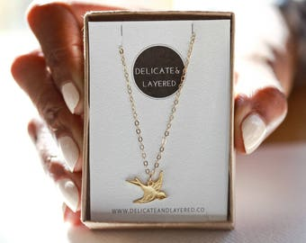 Animal Necklace, Dainty Necklace, Gold Necklace Dainty, Bird Necklace, Flying Bird Necklace, Bird Charm, Bridesmaid Gifts, Gift For Her