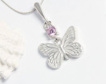 Butterfly Necklace, Silver Butterfly, Fine Silver Necklace, Silver Necklace, Pink Necklace, Butterfly Jewelry, Eco-friendly Jewelry