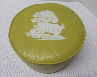 vintage vinyl stool yellow footstool ottoman mid century childrens seating faux leather midcentury modern mcm occassional seating dog puppy