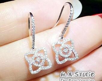 Solid 18K Gold Diamond Earring Studs, Diamond Dangle Drop Hoop Earrings, Christmas/Anniversary/Birthday/Wedding/Valentine's Day, Wholesale