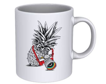 Pineapple with a Camera - Best Mug Ever - Hand Drawn Cool Funny - Coffee Mug - Great Gift for him for her...