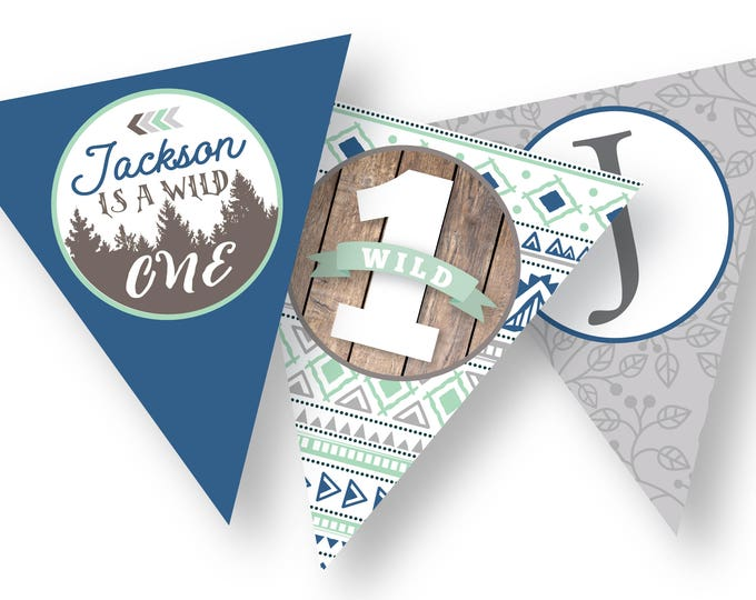 Wild One Bunting, Banner, DIY, Customized Text - Gender Neutral / Woodland Bunting / arrows, tribal inspired