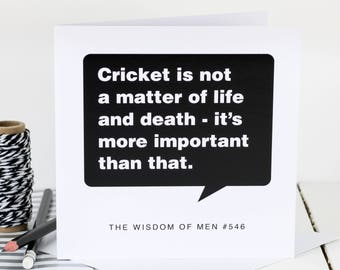 Cricket Card For Men; Loves Cricket; Cricket-Mad Card; Birthday Card For Dad; Birthday Card For Son; Card For Him; GC345