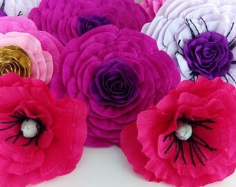 12 large giant crepe paper flowers kate shower spade bridal baby Wall poppy Photo backdrop Wedding paper flowers birthday party Nursery dec