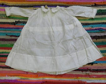 Sweetest Little Antique Linen Baby Dress Ever! - Christening Gown, Infant - Flowers - Off White, Ivory, Palest Ecru - Victorian