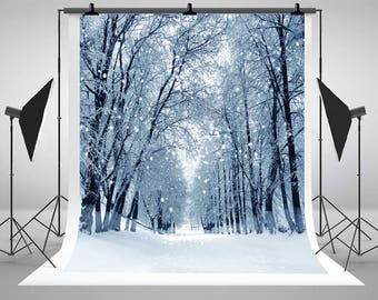 Winter Trees Snowflake Landscape Photography Backdrops Newborn Baby Photo Backgrounds for Children Studio Props