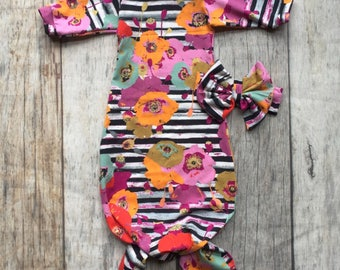 Stripes floral baby gown, baby girl gown, baby girl outfit , mermaid gown, knot gown, baby shower, going home outfit, girl layette