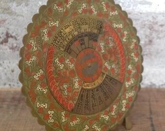 Perpetual calendar, brass calendar, 100 year calendar, born 1978 present, brass, vintage brass, old brass, enameled brass, red and gold