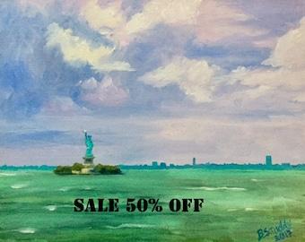 Statue of Liberty original oil painting, New York City