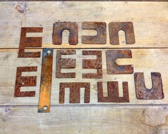 Rusty Scrap Metal Assemblage Supply, Flat Thin Metal Shapes, E W M U C N, Creative Found Art Pieces