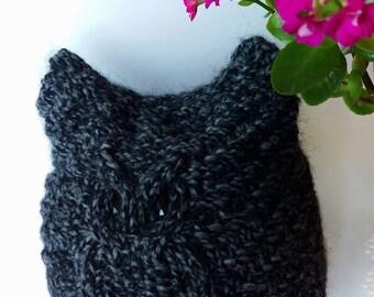 Owl Hat Beanie Luxurious Grey Hat Grey Beanie Hand knit Beanie Wool hat Alpaca Merino wool Hat Winter hat Handmade Gift For Her!