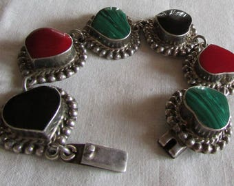 Sterling Silver Bold Red, Green and Black Heart Link Bracelet