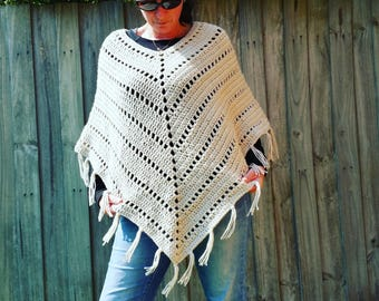 PDF pattern, Crochet, Chunky Poncho