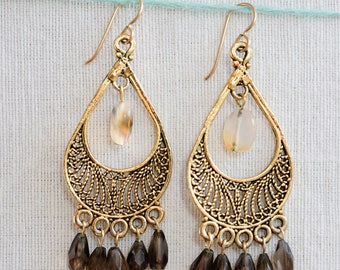 Chandelier earrings with Brown Stones