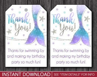 Mermaid Birthday Favor Tags | Mermaid Thank You Party Favor Tags | Printable Digital File | INSTANT DOWNLOAD