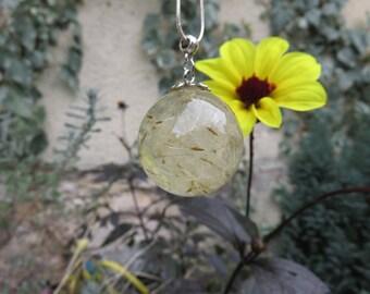 fancy bubble inclusion egrets dandelion resin pendant