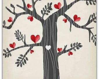 Map double 'the tree of hearts' original creation Digital 15cm x 15cm