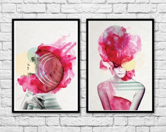2 Art-Posters 30 x 40 cm Limited Edition 50 ex. - Duo Bright Pink Girls Portraits