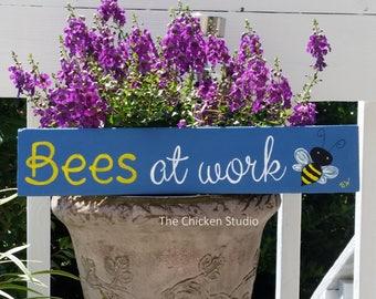 BEES AT WORK, Bee Sign, Garden Decor, Pallet Art, Beekeeper, Bees, Apiarist Gift, Bee Warning, Outdoor Sign, Gardener Gift