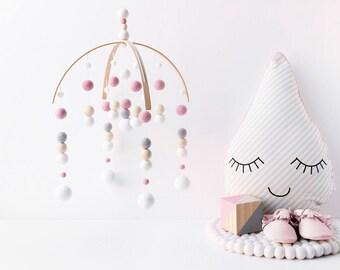 Pink Grey White Nursery Mobile. Girls Baby Mobile. Baby Girl Mobile. Baby Crib Mobile. Nursery Cot Mobile. Felt Ball Mobile. Ceiling mobile