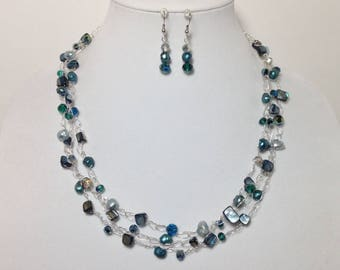 Ocean Blue Green Teal, Cultured Pearls, MOP Shells, Faceted Glass, Non-Tarnish Silver Plated Wire, Wire Crochet, Necklace, Earrings