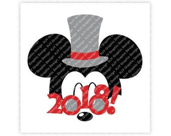 Disney, New Years, 2018, Sunglasses, Top Hat, Mickey, Minnie, Mouse, Head, Ears, Digital, Download, TShirt, Cut File, SVG, Iron on, Transfer