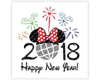Disney, Happy New Year, 2018, Epcot, Fireworks, Minnie, Head, Mouse, Ears, Icon, Digital, Download, TShirt, Cut File, SVG, Iron on,Transfer