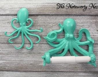 CUSTOM COLORS Octopus Toilet Paper Holder // bathroom decor / nautical decor / nautical bathroom / sea theme bathroom / Aqua Octopus