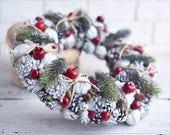 Christmas wreath, Wreath of cones,  Front door decoration,  Home Decor, Rustic Wreath, Farmhouse Wreath, White Wreath, Natural wreath
