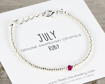 July Ruby Crystal Birthstone Bracelet, birthday gift, birthday gifts, July birthstone jewelry, ruby bracelet, gift for her, beaded jewelry