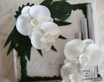 Orchid silver white bamboo guestbook artificial customize