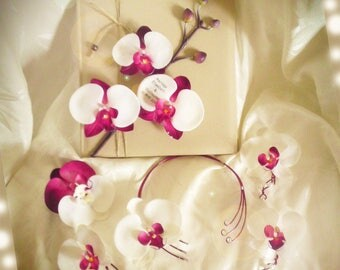 Color set bridal guestbook, necklace, customize boutonnieres and hair clip