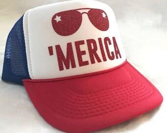 Merica Trucker Hat - 4th of July Trucker Hat - America Trucker Hat - Merica Hat - 4th of July Hat - Adult Trucker Hat - Merica Sunglasses