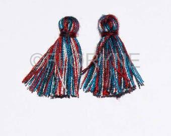 2 small 10 X 20Mm 9 multicolored yarn tassel