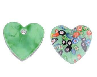 Italian glass heart pendant