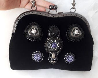 Mini black bag Iphone phone party bag Beaded bag Velvet purse Handle metal frame purse Theatre bag Purple Black small purse handbag