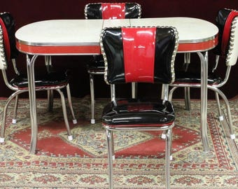 Vintage Chrome Diner Red Black Pearl Chairs and Table