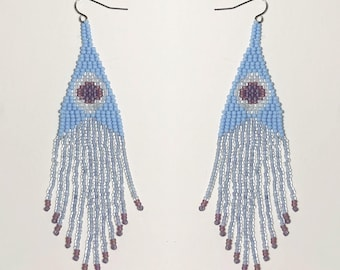 Ready to ship. Handwoven beaded earrings, pale blue