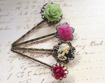 Skulls And Roses Skull And Floral Hair Clips