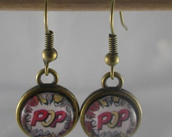 "Boucles106 - Earrings bronze and red and multicolor cabochon ""Pop"""