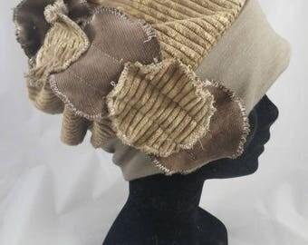 Bas032 - Beige corduroy chemo Hat