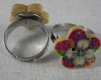 Pink Bague042 - White background flower wooden flower button ring