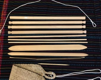 Back-strap Loom for weaving-Learn to Weave -Guatemala  Style Loom/Mayan loom-Hand Crafted loom-Wood Loom- Pine Loom/Back-Strap Belt/Kit loom