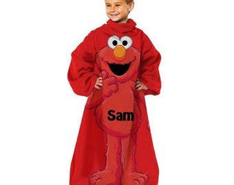 Sesame Street 'Elmo' Comfy Throw Blanket with Sleeves Personalized