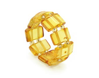 Amber Ring - Honey Amber Ring -Baltic Amber Ring - Amber Stretch Ring - Amber Elastic Ring - Amber Statement Ring - Honey Amber -DO-208